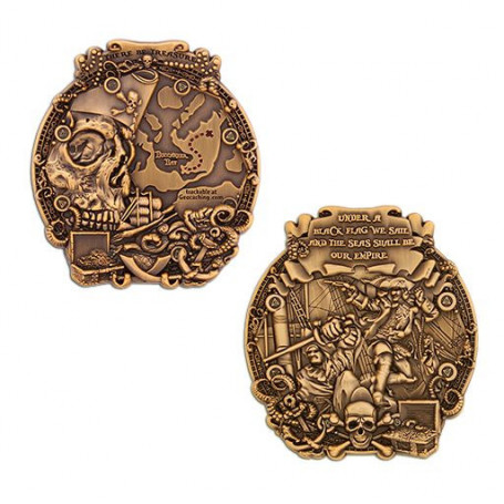 Pirates of Buccaneer Bay Geocoin - Antique Gold