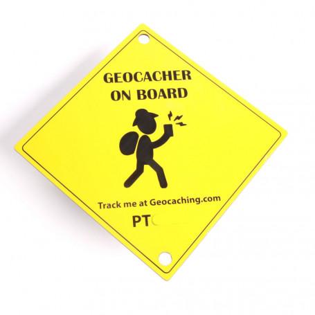 Zuignap plaatje Geocacher on Board (15 x 15 cm)