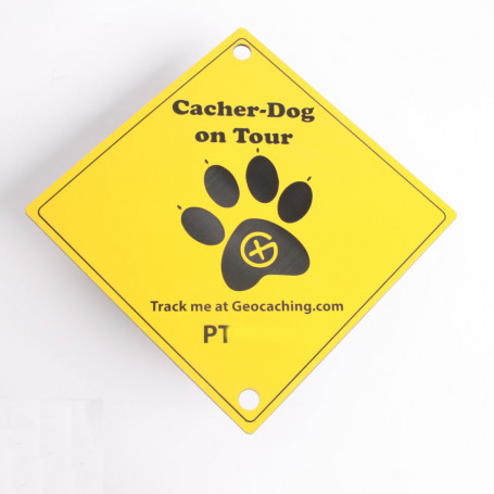 Trackable laminate Cacher-Dog with suction cups (15 x 15 cm)
