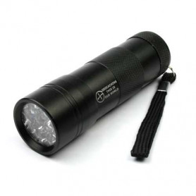 UV flashlight 12 LED black, incl batteries