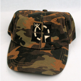 Hat, groundspeak, camo brown with logo