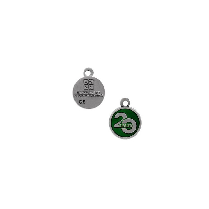 20 Years of Geocaching nano trackable charm