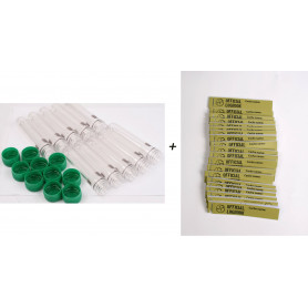 10 x Petling with green cap and 20 x petling logbook (green) 17x90mm