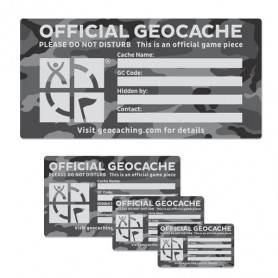 Groundspeak Cache label Urban Camo, small 4.5 x 8 cm