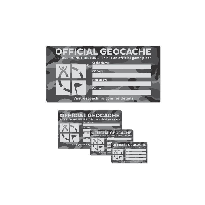 Groundspeak 1 x Cache Label Urban Camo, klein 4.5 x 8 cm