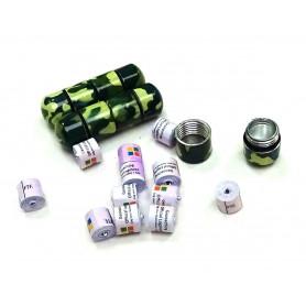 Set of 10 x nano Behälter camo grün/gelb + 10x nano logrol