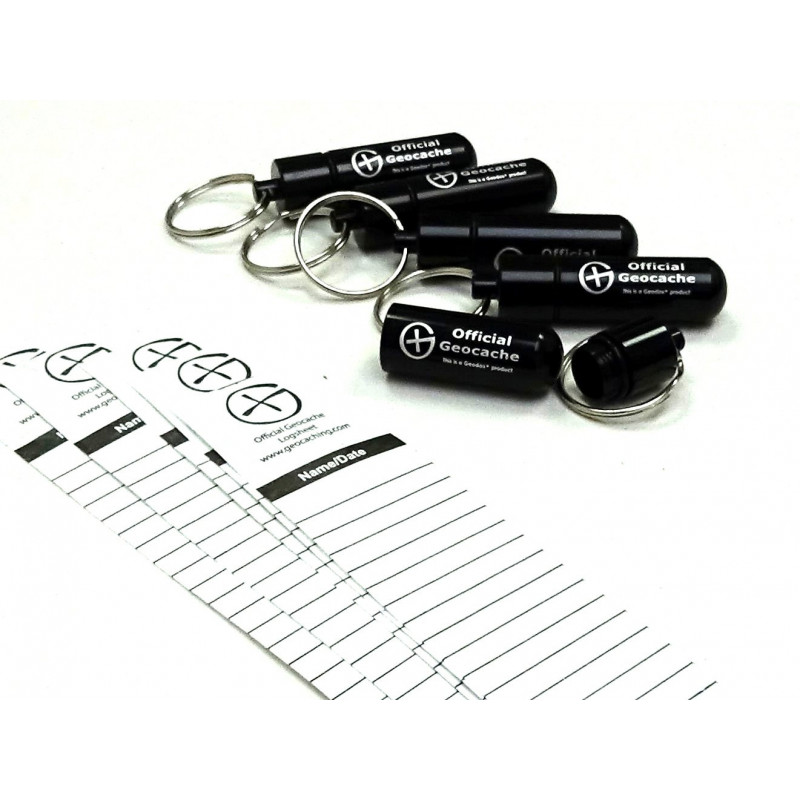 Set of 5 x round Micro container, black + logsheets