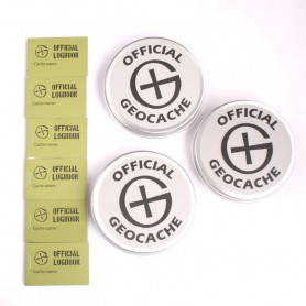 set of 3 Round Magnetic Geocaching Container - L + 6 extra logbooks