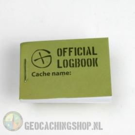Logbuch Grün Geocaching, 35x50mm, 100 logs