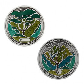 2021 CITO Geocoin & Tag Set Antique Silver