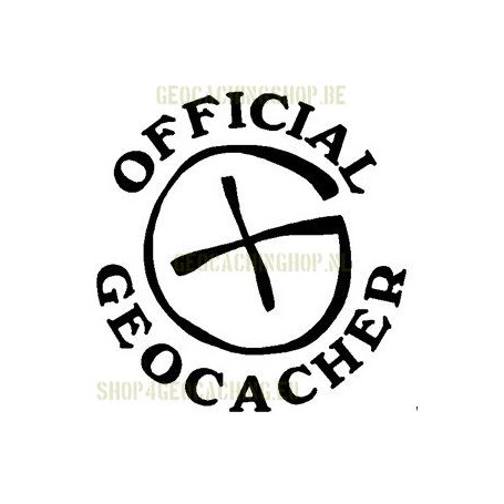 Official Geocacher Sticker 7,5 cm zwart