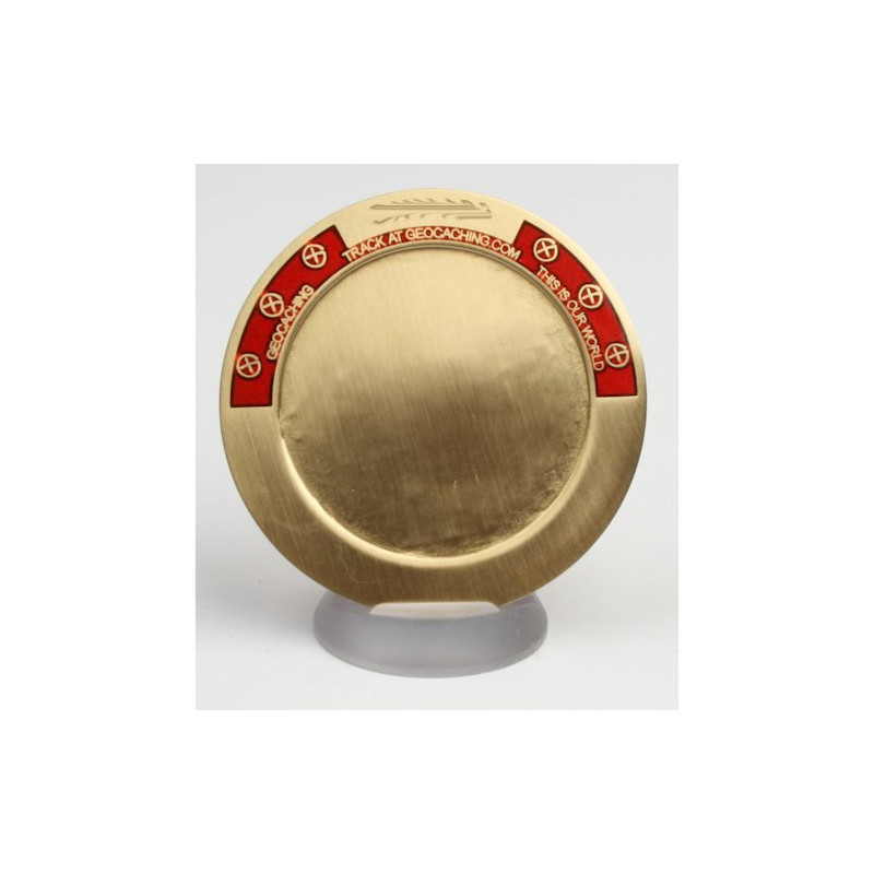 My Geocoin - with engraving - antique Bronze / Red