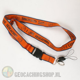 Lanyard I Love Geocaching - Orange
