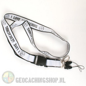 Lanyard I Love Geocaching - Weiss