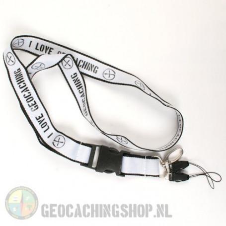 Lanyard I Love Geocaching - White