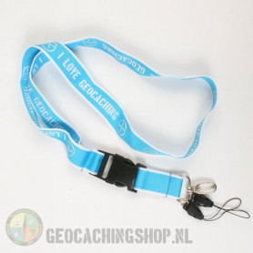 Lanyard I Love Geocaching - lightblue
