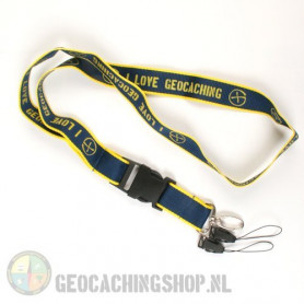 Lanyard I Love Geocaching - darkblue