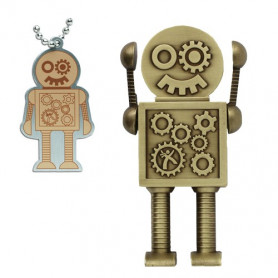Mega Steampunk Robot antique bronze mit traveltag