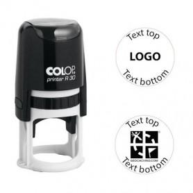 Log stempel - Printer - 30 mm rond - Eigen tekst/logo