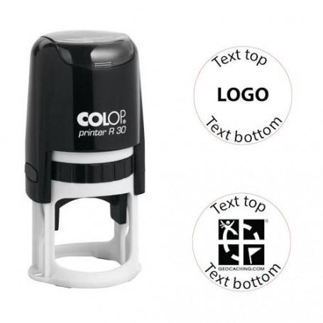 Log stamp - Printer - 30 mm circle - Own text/logo
