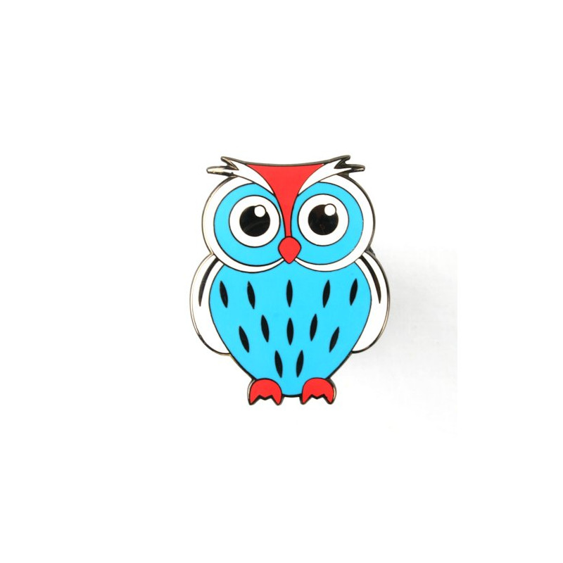 Owl Geocoin - Papa Blue-White