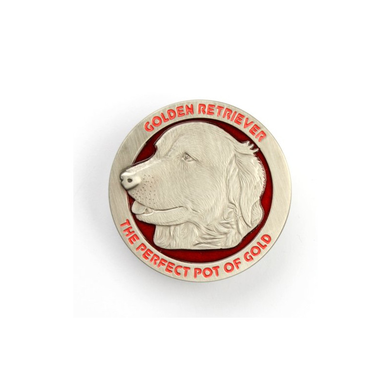Golden Golden Retriever Geocoin - Antique silver with red