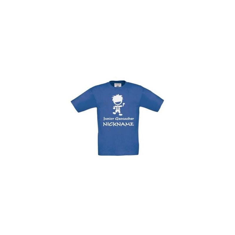 Junior Geocacher kids T-shirt with Name (blue)
