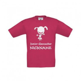 Junior Geocacher kinder t-shirt met naam (roze)