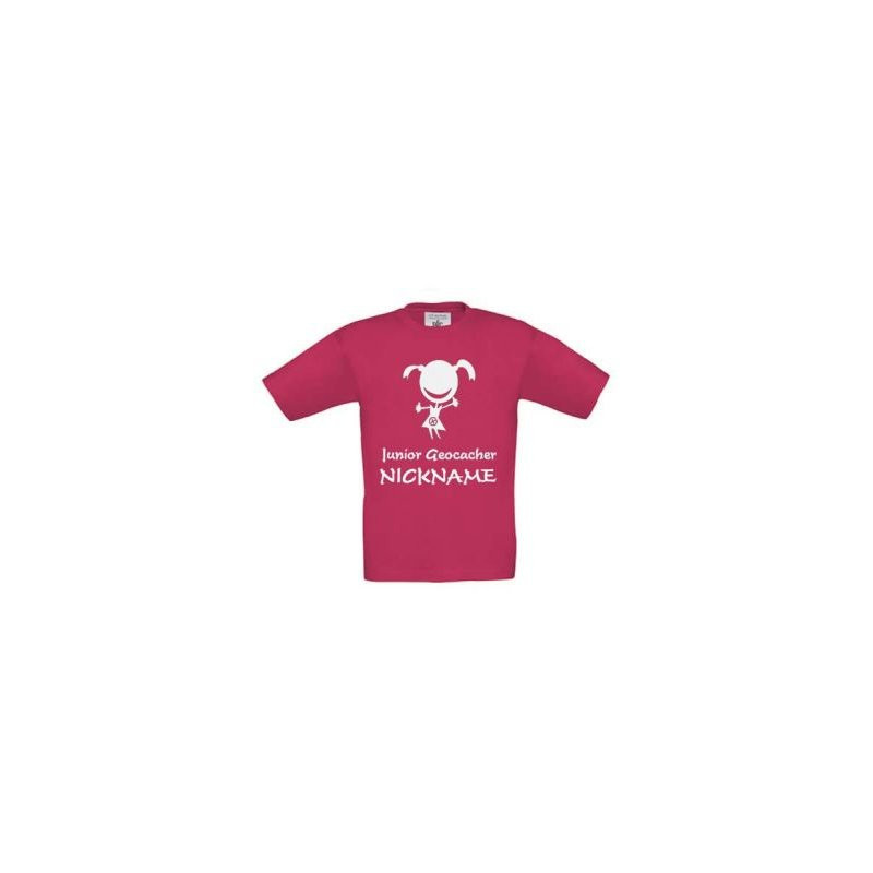 Junior Geocacher kids T-shirt with name (pink)