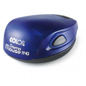 Log stamp - Mouse - 40 mm circle - Own text/logo