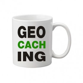 Coffee + tea Mug: Geocaching letters green