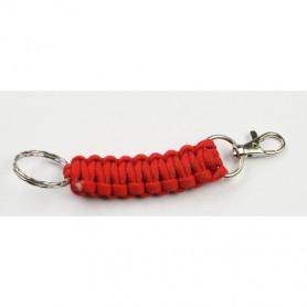 Paracord karabijnhaak met sleutelring - rood