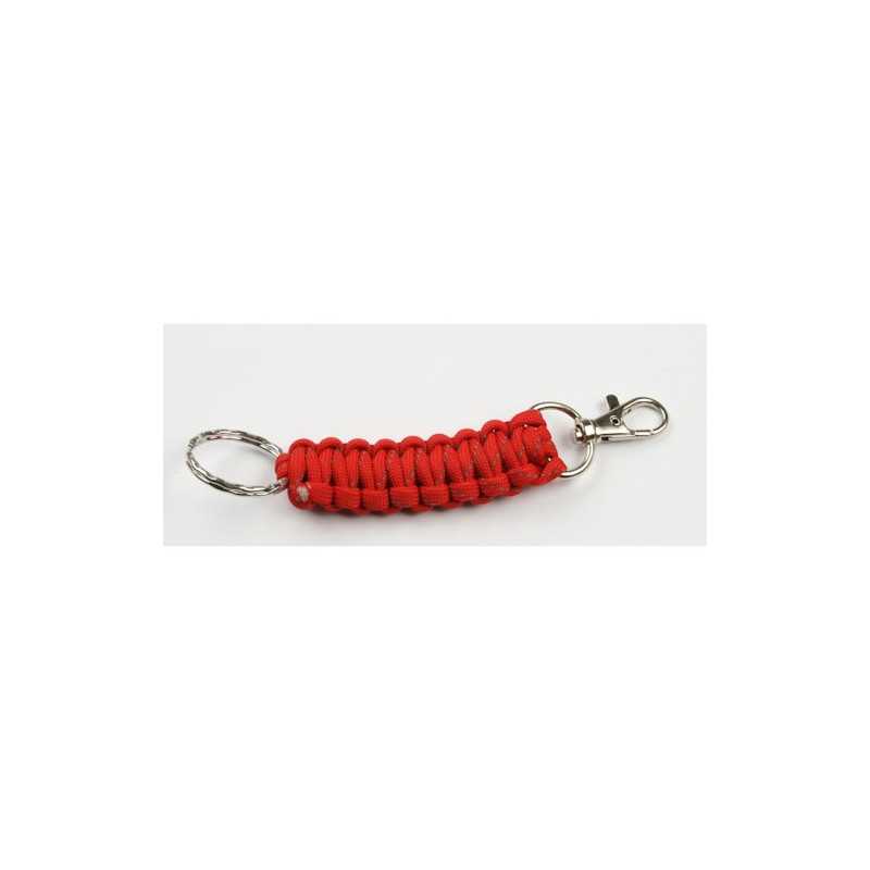 Paracord carabiner with keyring - red