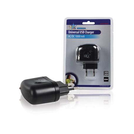 Universal USB charger, 5V, 1000mA