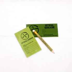Cache container logbook-sticker-pencil