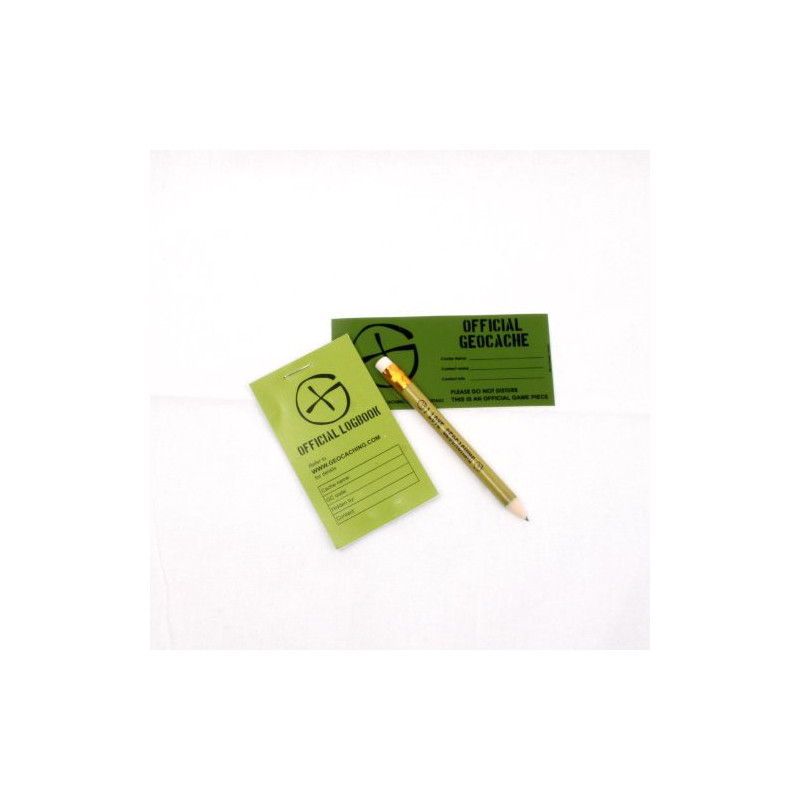 Cache container logbook-sticker-pencil