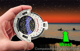 Rotating the Planisphere coin to match with the west horizon
